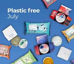 Blue background with plastic free wipes and mum skincare