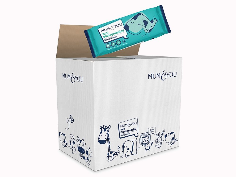 100% Biodegradable Baby Wipes (18 Pack)