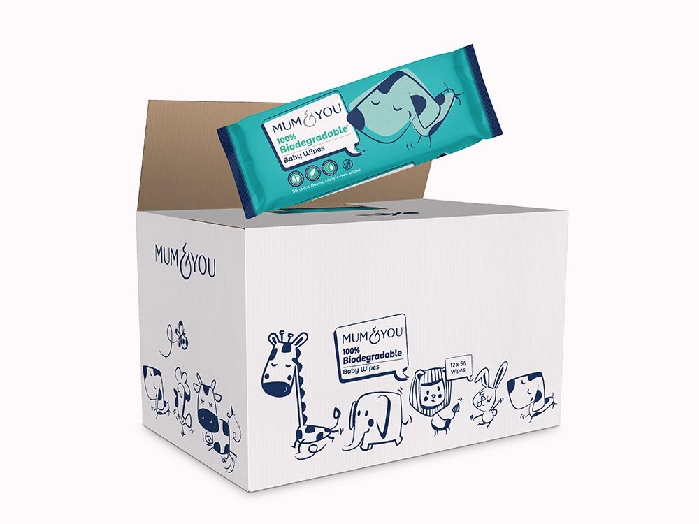 100% Biodegradable Baby Wipes (12 Pack)